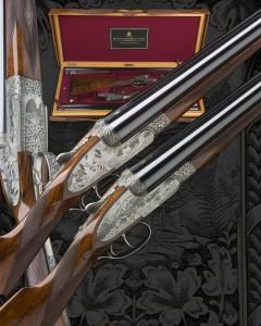 Dette specielle par Holland & Holland i kaliber 12 er på auktionen torsdag. De er vurderet til mellem 82.000 0g 120.000 kroner.